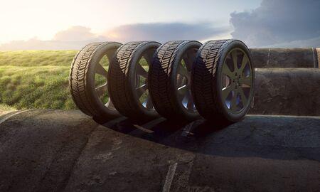 Tires on a street with hills 版權商用圖片