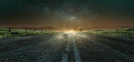 Highway at night towards the city