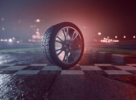 濡れたレーシングトラックのタイヤ