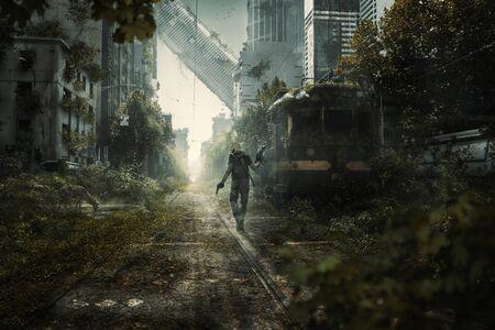 Überlebender geht durch eine apokalyptische Stadtszene