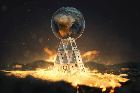 World globe on house of cards over lava flow (3d Rendering) Zdjęcie Seryjne