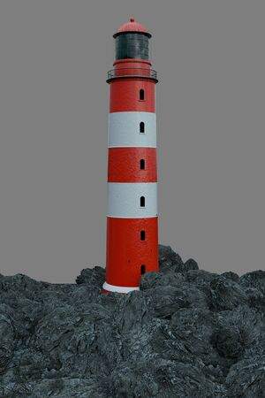 Lighthouse on rocky island in front of grey background (3d Rendering)