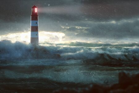 Lighthouse during storm