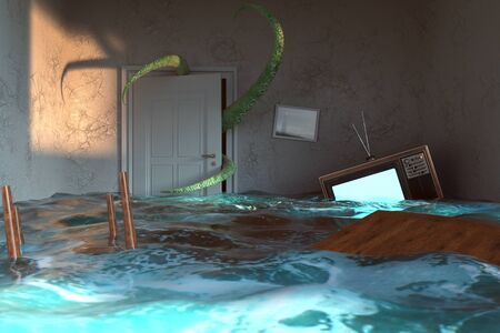 Apartment is under water and tentacles coming from the back door (3d Rendering) Imagens