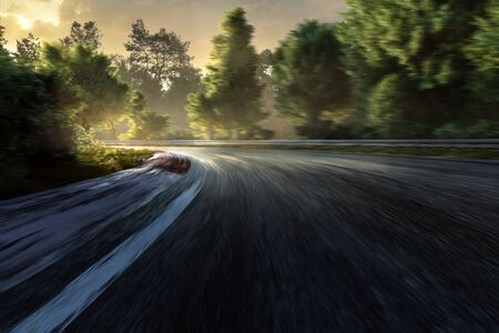 Racetrack in the sunset with motion blur (3D Rendering)