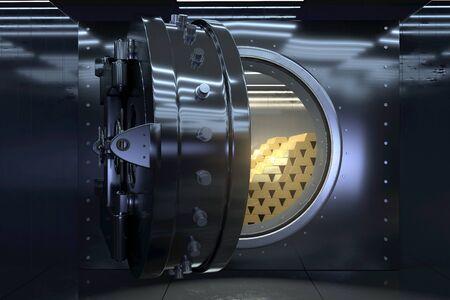 Opened vault and gold bars (3D Rendering) 版權商用圖片