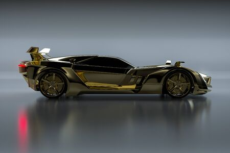 Gold Sportscar in front of grey background (3D Rendering)