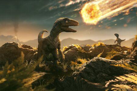 Velociraptor ve asteroide entrante Foto de archivo