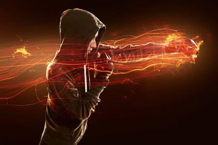 Woman practices martial arts