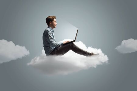 Man working on a cloud