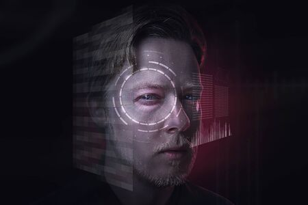 Man behind futuristic interface 스톡 콘텐츠