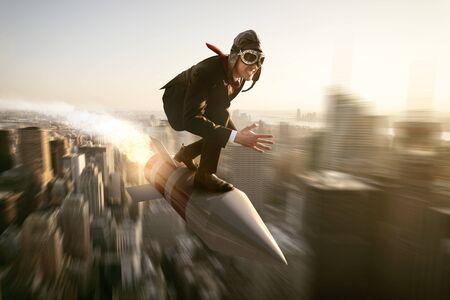 Man on a rocket above new york city