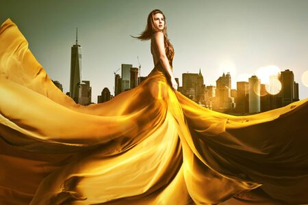 Woman with golden dress