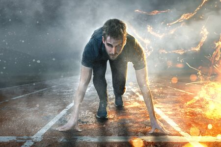 Runner on runway with water and fire effects