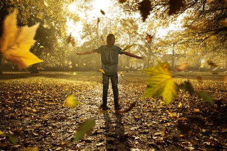 Child between falling autumn leaves