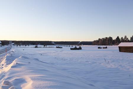 barns winter: Barns in a winter field