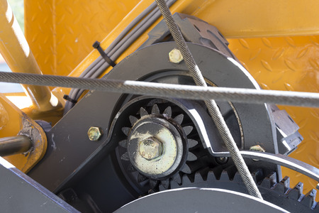 rack wheel: A detail photo on a cogwheel on a crane