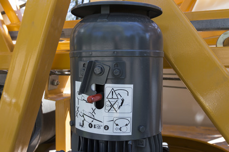 control box: A control box on a crane