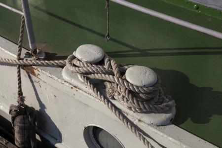fender: Knots and ropes on a moored ship in harbor
