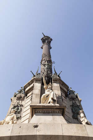 rambla: A close up on the Columbus Monument in Barcelona, Spain.  Its placed between La Rambla and Rambla Del Mar. Its in memory of the first reports from Christoffer Columbus back to King Ferdinand V and Quenn Isabella I. Editorial