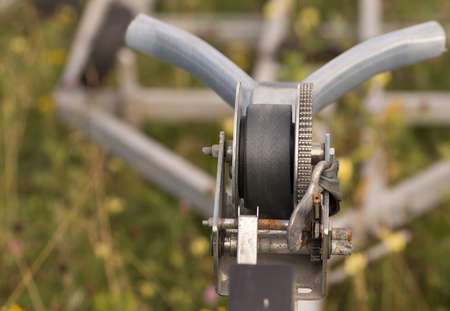 grappling: A close up on a boat winch on a trailer