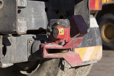 hitch: A close up on a lorry and the tow hitch Stock Photo