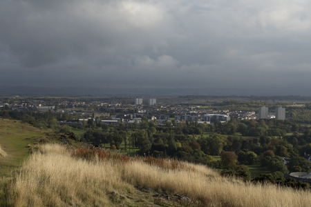 edinburgh background: A view over Edinburgh, Scotland from a hill with the city in the background