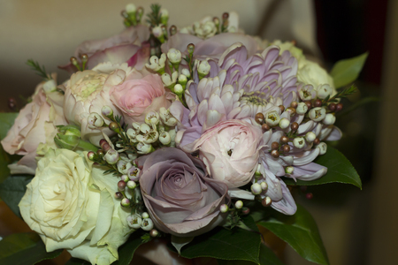the close range: A bridal bouquet from a close range