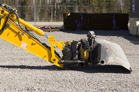 hydraulics: A closer look on some hydraulics and a bucket on a n excavator