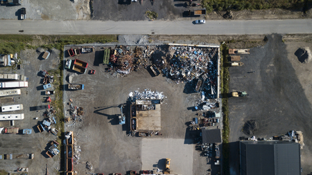 A scrap yard for recycling iron taken with a drone