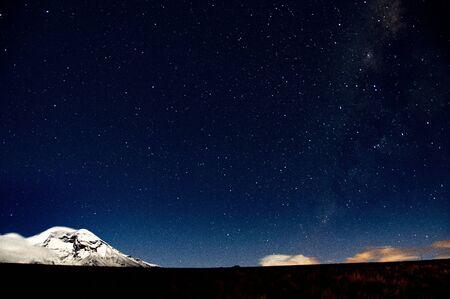 Starry night with Chimborazo volcano