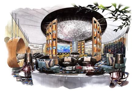 boceto salón del vestíbulo interior en una acuarela sobre papel. Foto de archivo - 63916196