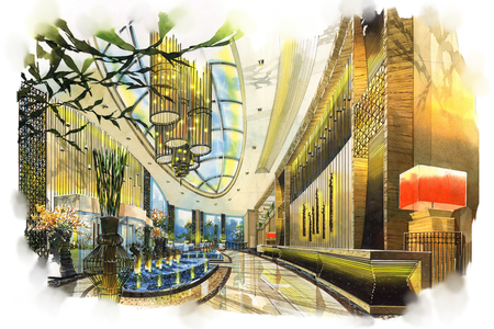 sketch interior lobby into a watercolor on paper.