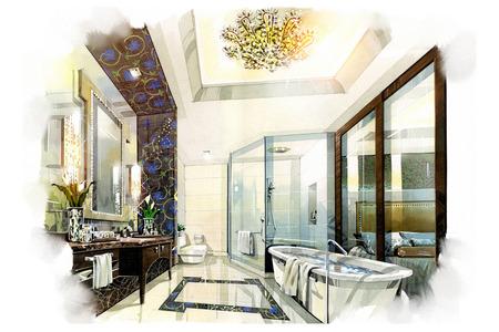 bath room: sketch interior bath room into a watercolor on paper. Stock Photo