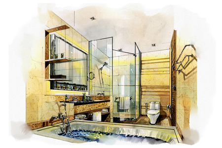 sketch: sketch interior bath room into a watercolor on paper. Stock Photo