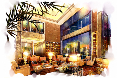 sketch interior lobby lounge into a watercolor on paper.