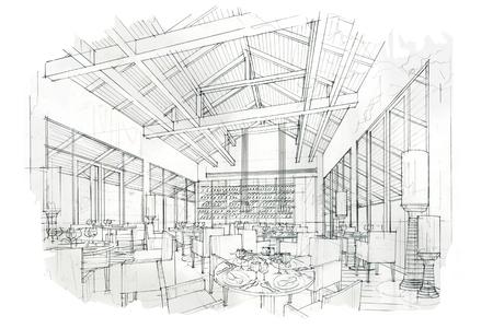 Banque dimages rayures croquis tous les jours et le restaurant design d intérieur en noir et blanc