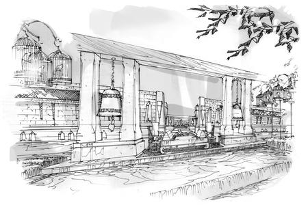 swimming pool home: sketch stripes corridor , black and white interior design.