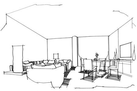 living room design: sketch stripes  VIP living room, black and white interior design. Stock Photo
