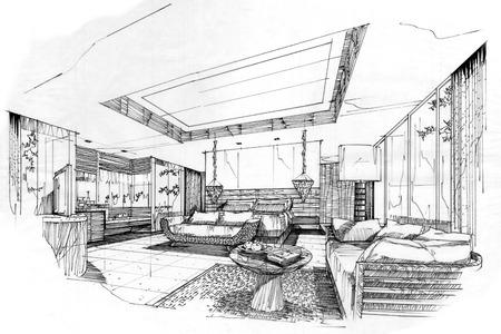 sketch stripes bedroom, black and white interior design. Standard-Bild