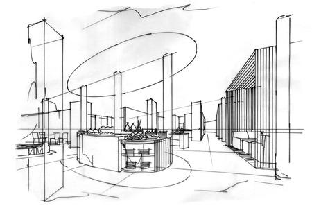 all day: sketch stripes all day & restaurant , black and white interior design. Stock Photo