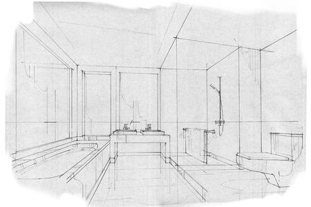 bath room: sketch stripes BATH ROOM, black and white interior design.