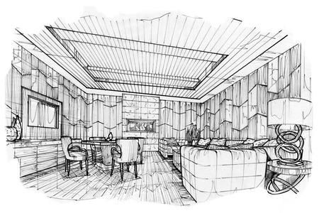 living room design: sketch stripes living VIP room, black and white interior design.