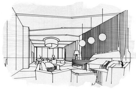 hotel lobby: sketch stripes lobby, black and white interior design. Stock Photo