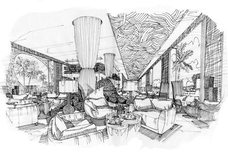 Interior sketches into digital color and black and white.