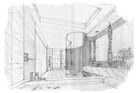 bath room: sketch stripes bath room , black and white interior design.