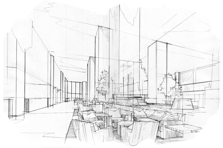 schets strepen lobby, zwart-wit interieur.