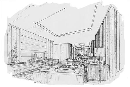 Schizzo interno prospettiva soggiorno, bianco e nero interior design. Archivio Fotografico - 63916581