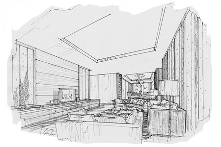 sketch interior perspective living room, black and white interior design.