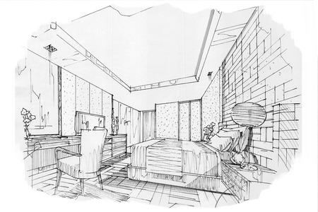 Prospettiva interna dello schizzo SCHEDA DI BED, disegno interno in bianco e nero. Archivio Fotografico - 63916613